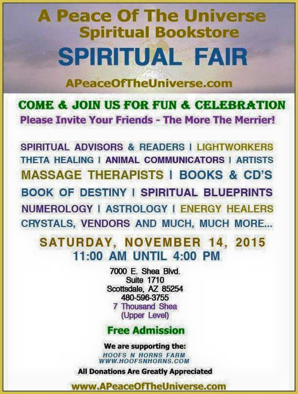 A Peace of the Universe Spiritual Fair – November 14, 2015