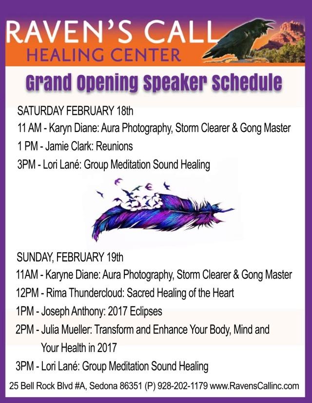 Grand Opening Speaker Schedule